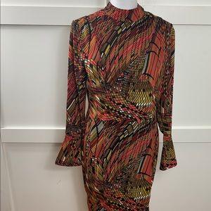 Geometric pattern high collar dress
